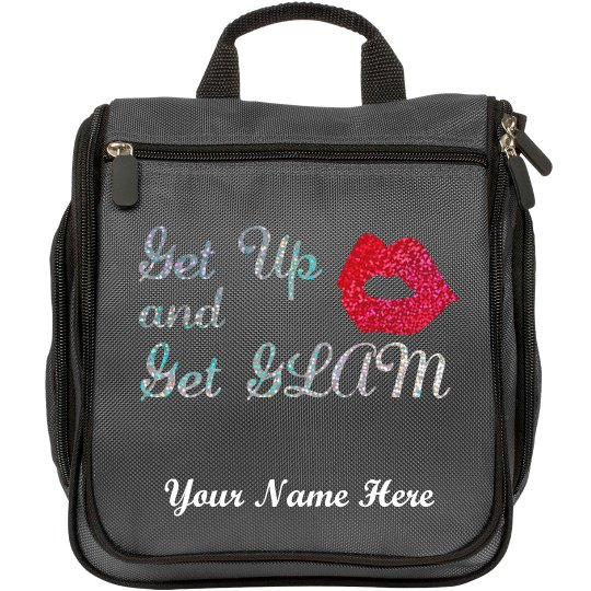 Get up and get GLAM red glitter lips custom makeup bag