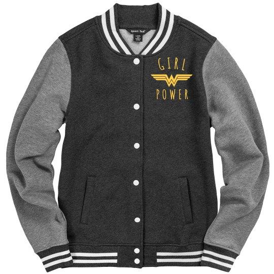 Girl Power Wonder Woman Varsity Jacket