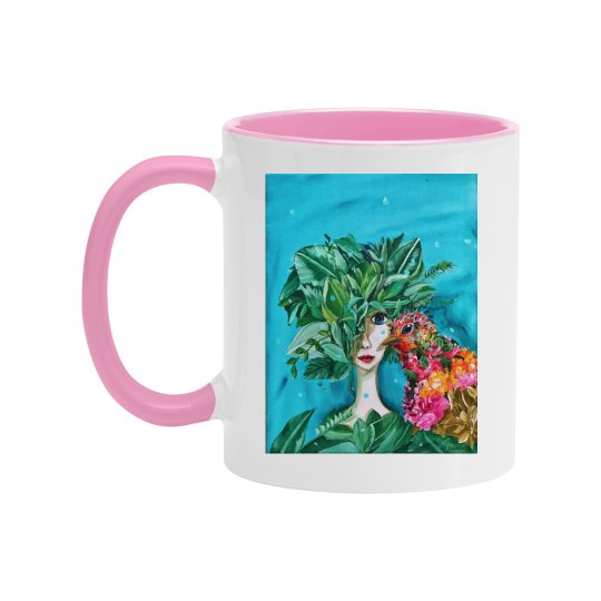 Girl with flowers and bird teal background (pink mug)