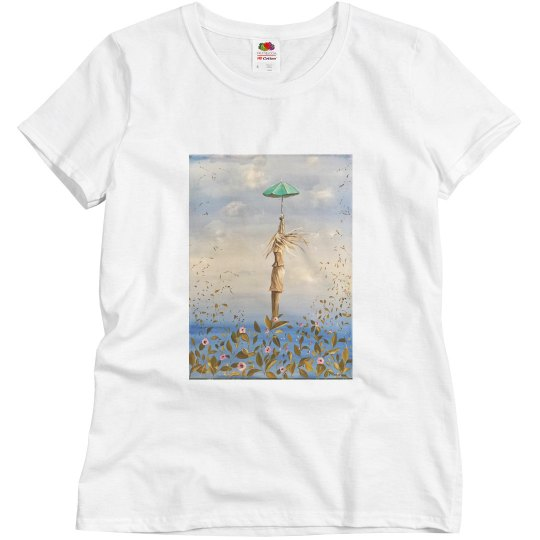 Girl with green umbrella (t shirt)