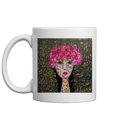 Girl with pink flowers mug