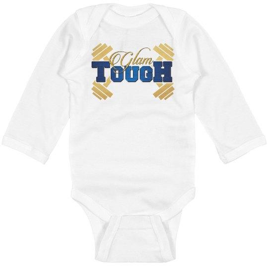 GlamTough Tough Infant Long Sleeve Baby Rib Onesie