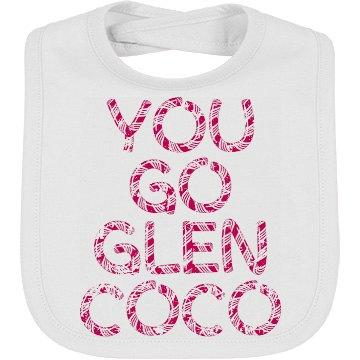 """Glen Coco"" Baby Bib White/Raspberry"