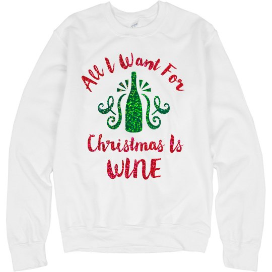 Glitter Christmas Wine Ugly Sweater