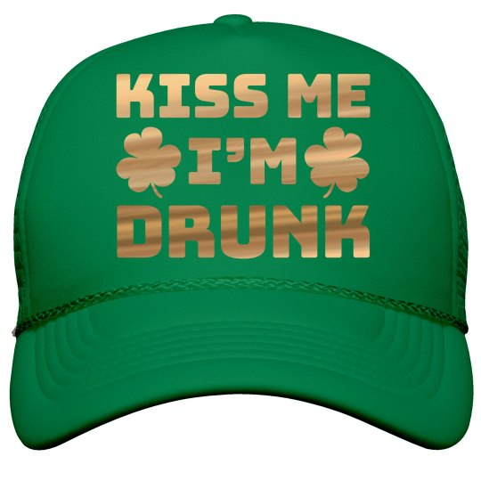 Gold Metallic Kiss Me I'm Drunk Hat