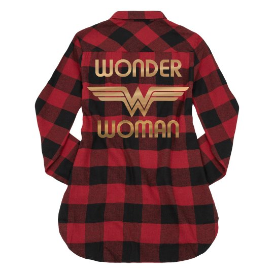 Gold Metallic Wonder Woman Flannel