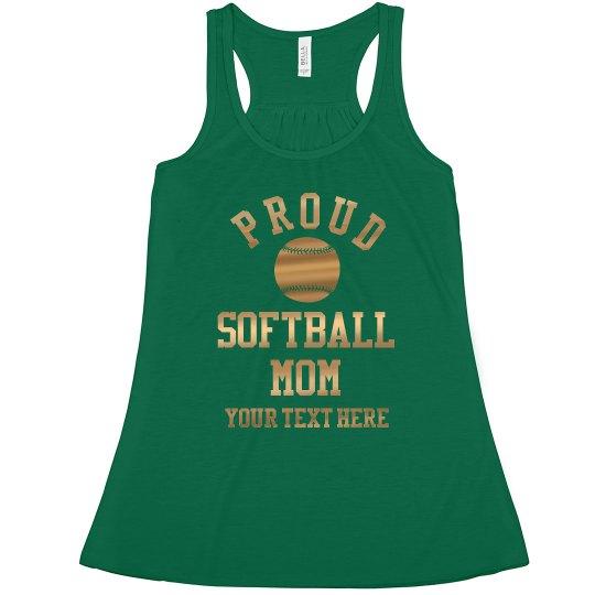Gold Proud Softball Mom Custom
