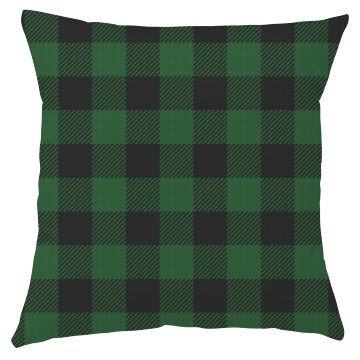 Green & Black Plaid Pillow Cover