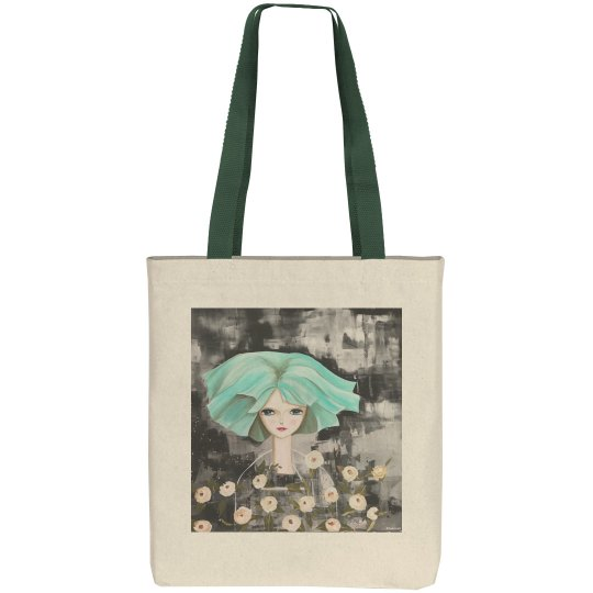Green hair girl with flowers tote
