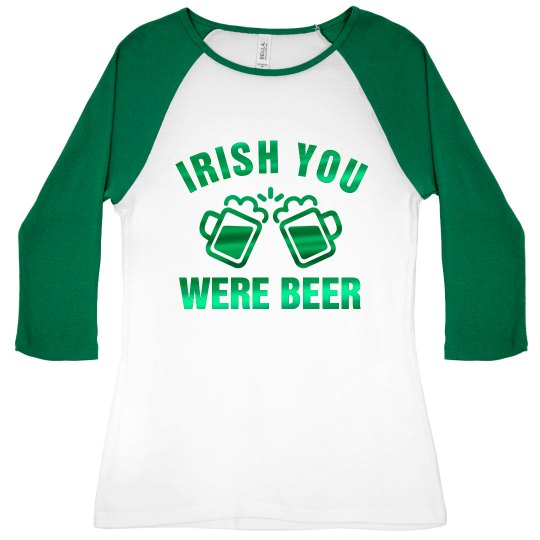 Green Metallic Irish Beer Raglan