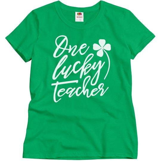 Green One Lucky Teacher St. Patrick