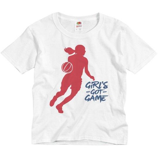 Grey youth tee w/girl basketball graphic