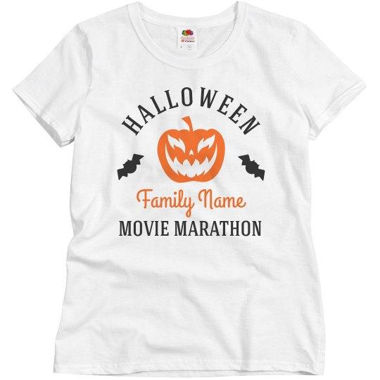 Halloween Movie Marathon Custom Family Tees