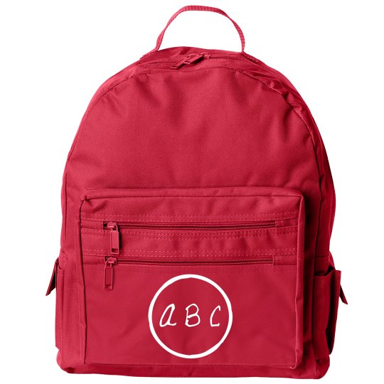 Handwritten Custom Initials Kids School Bag