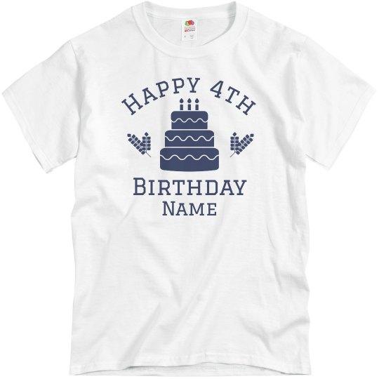 Happy 4th Birthday Custom Name