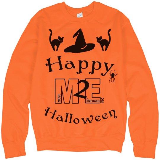 Happy Halloween Cat and Witch Hat Orange Sweatshirt