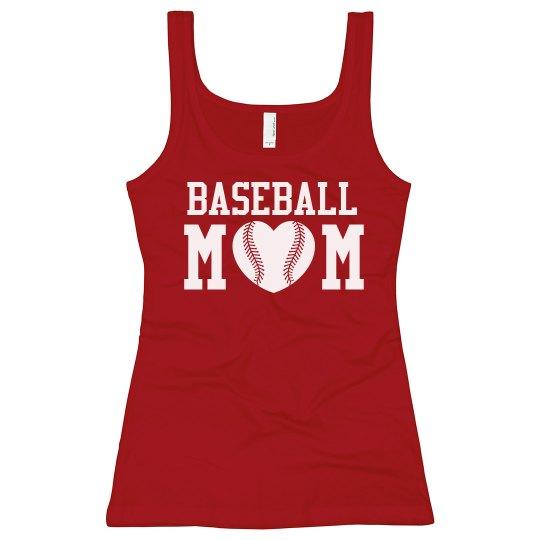 Heart Shaped Baseball Mom Tank