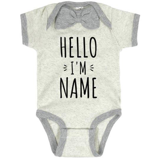 Hello Custom Name Baby Announcement
