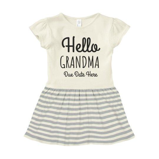 Hello Grandma Baby Announcement Dress