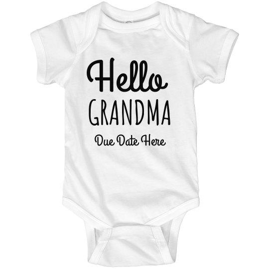Hello Grandma Pregnancy Announcement Custom Bodysuit