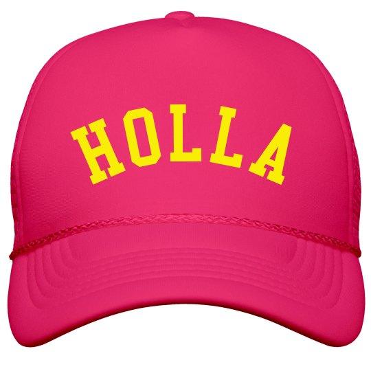 HOLLA Fluorescent Yellow Text