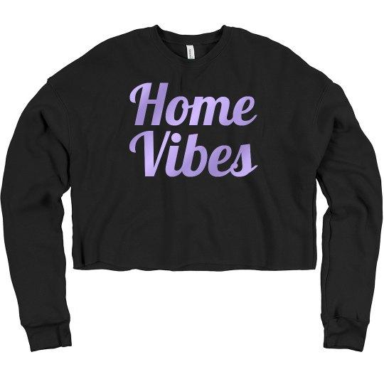 Home vibes crop sweatshirt black