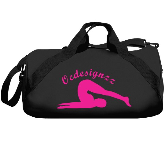 Hot Pink Black Yoga Duffle Bag