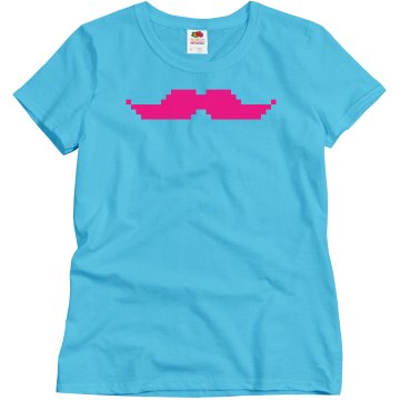 Hot Pink Pixel Mustache
