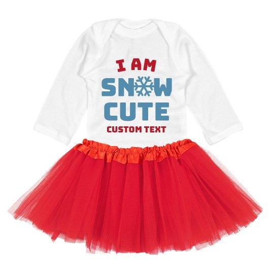 I Am Snow Cute Custom Holiday Bodysuit & Tutu