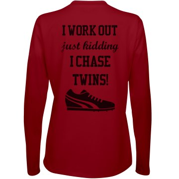 I Chase Twins Long Sleeve Tee - Red