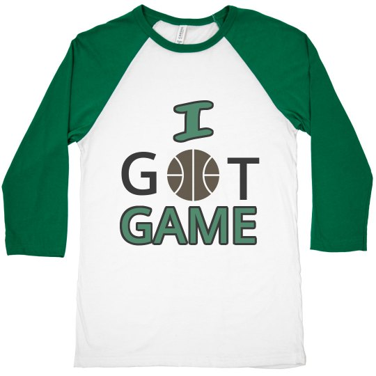 I Got Game Junior Black, Grey and Green Basketball Tee