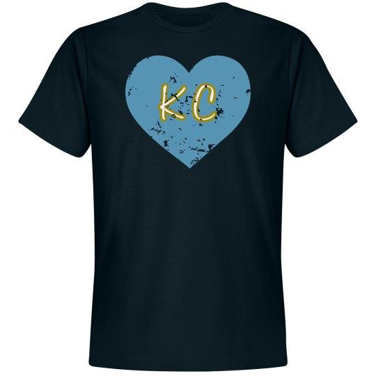 I Heart KC - navy/light blue - ultrasoft - distressed