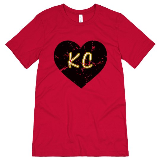I Heart KC - red/black - ultrasoft - distressed