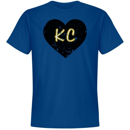 I Heart KC - royal/black - ultrasoft - distressed