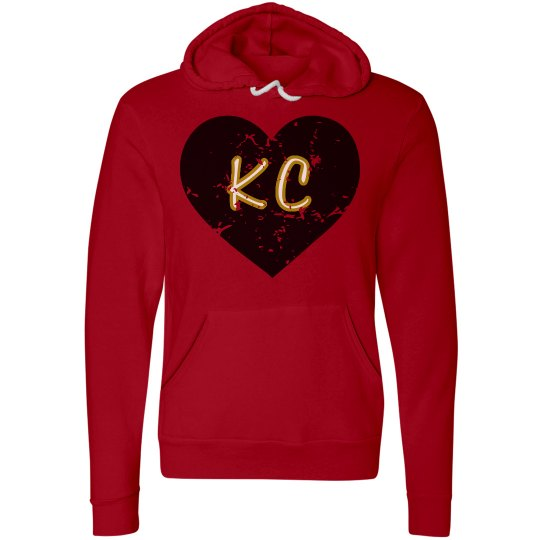 I Heart KC Hoodie - red/black - ultrasoft - distressed