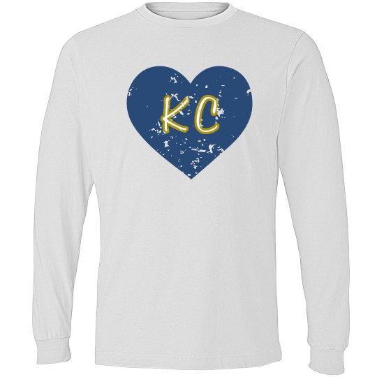 I Heart KC LS - gray/royal - ultrasoft - distressed
