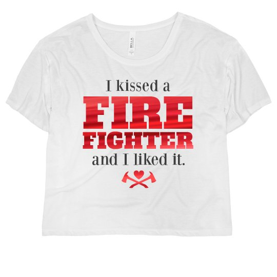 I Kissed A Firefighter Ladies Flowy Boxy Cropped T Shirt