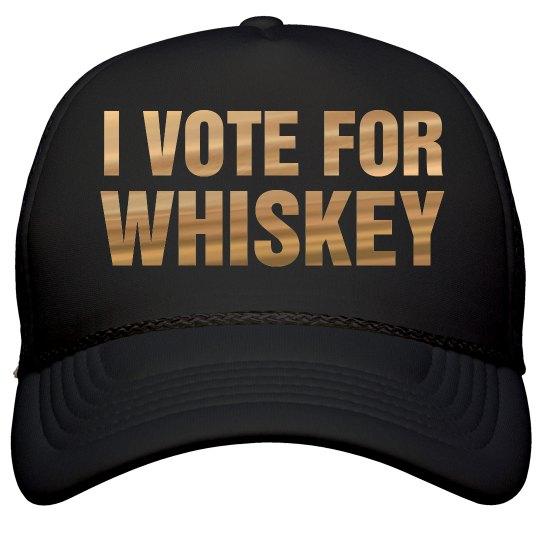 I Vote For Whiskey Metallic Text