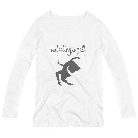 I'm Feeling Myself - Gray and White Maternity Long Tee