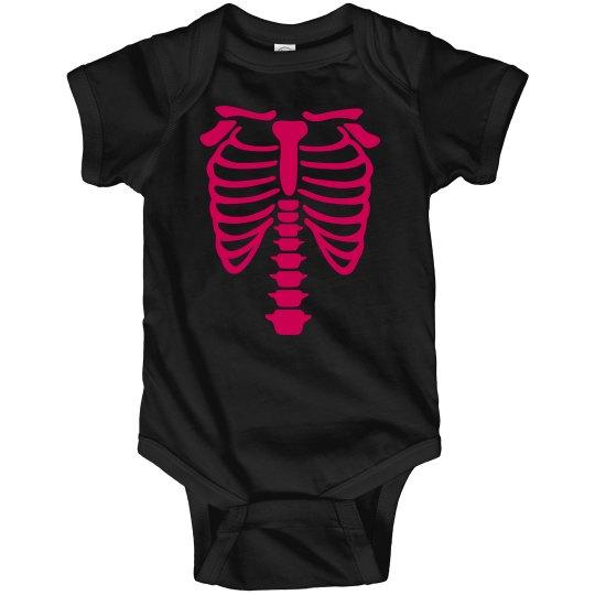 Infant Girl Pink Skeleton Onsie
