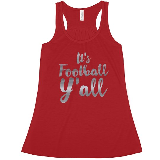 It's Football Y'all Metallic Text