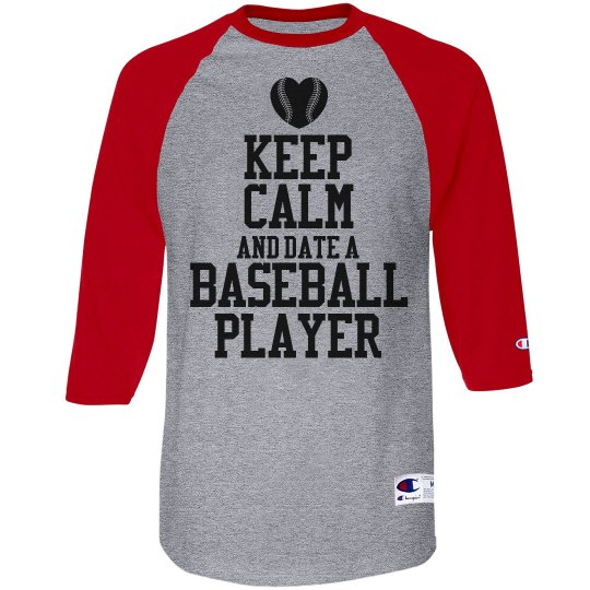 Keep Calm Date Baseball Player With Custom Number