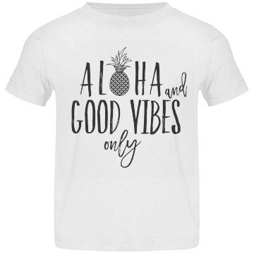 Kids Aloha & Good Vibes Only T with Black