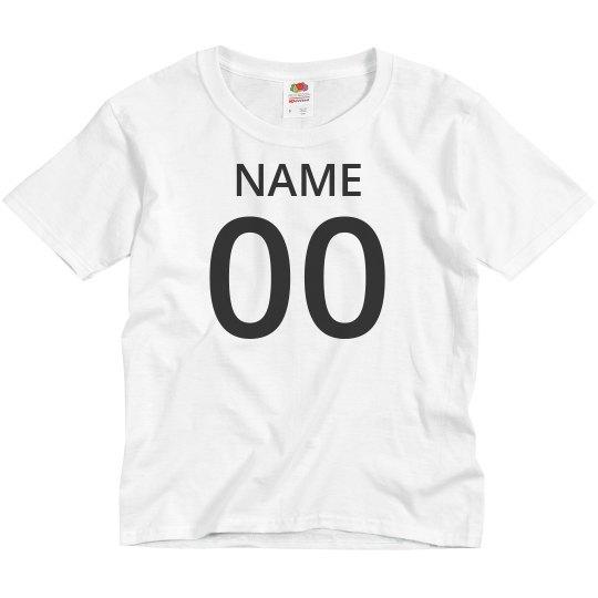Kids Custom Name And Number Tee