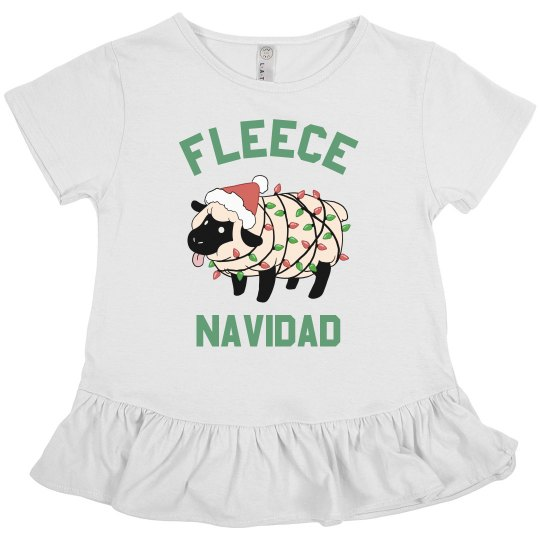 Kids Fleece Navidad Ruffle Tee