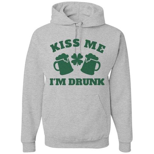Kiss Me I'm Drunk Irish Hoodie
