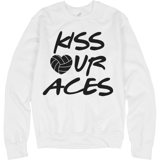 Kiss Our Aces Volleyball Girl Wordplay