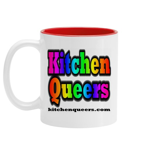 Kitchen Queers White & Blue Rainbow Logo Mug