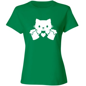 kitty and beer tee