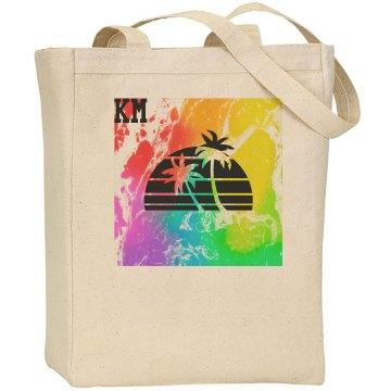 KM palm tree beach bag